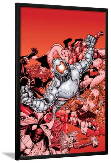 Avengers No.22 Cover: Ultron and Avengers-George Perez-Lamina Framed Poster