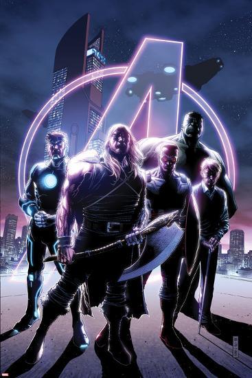 Avengers No. 35 Cover, Featuring: Thor, Havok, Falcon Cap, Hulk, Steve Rogers-Jim Cheung-Art Print