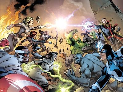 Avengers No. 39 Cover, Featuring: Captain Marvel, Falcon Cap, Hawkeye, Black Widow, Spider Woman-Alan Davis-Art Print