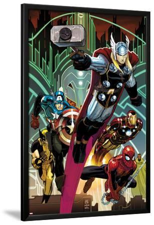 Avengers No 5 Cover: Thor, Captain America, Spider-Man, Iron Man, and  Wolverine Flying Lamina Framed Poster by John Romita Jr  | Art com