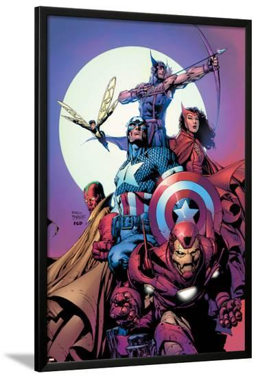 Avengers No.80 Cover: Iron Man, Captain America, Vision, Scarlet Witch, Hawkeye, Wasp and Avengers-David Finch-Lamina Framed Poster