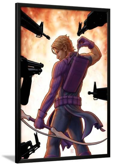 Avengers: Solo No.5 Cover: Hawkeye Trapped, Drawing and Arrow-John Tyler Christopher-Lamina Framed Poster