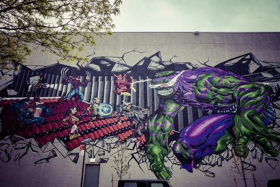 Avengers Super Heros Graffiti, Streetart, Wallpainting, Manhattan, New York, USA-Andrea Lang-Photographic Print