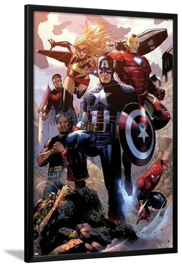 Avengers: The Childrens Crusade No.4: Captain America, Ms. Marvel, Iron Man, Spider-Man and Others-Jim Cheung-Lamina Framed Poster