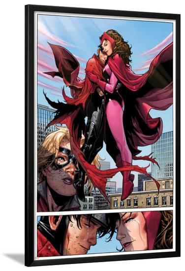 Avengers: The Childrens Crusade No.6: Panels with Scarlet Witch and Wiccan Flying and Hugging-Jim Cheung-Lamina Framed Poster