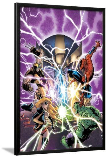 Avengers & The Infinity Gauntlet No.1 Cover: Ms. Marvel, Hulk, Wolverine, Spider-Man, and Thanos-Humberto Ramos-Lamina Framed Poster