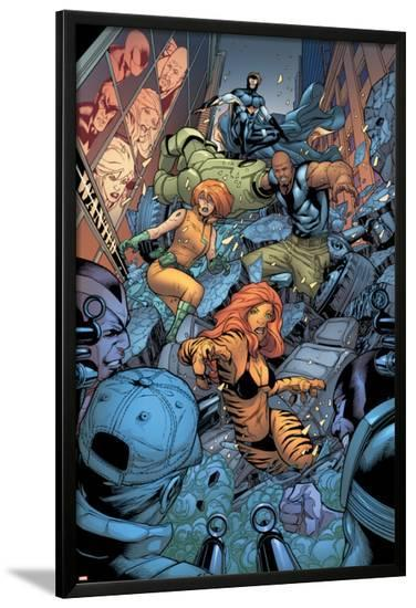 Avengers: The Initiative No.26 Group: Tigra, Ultragirl, Gauntlet and Justice Jumping-Rafa Sandoval-Lamina Framed Poster