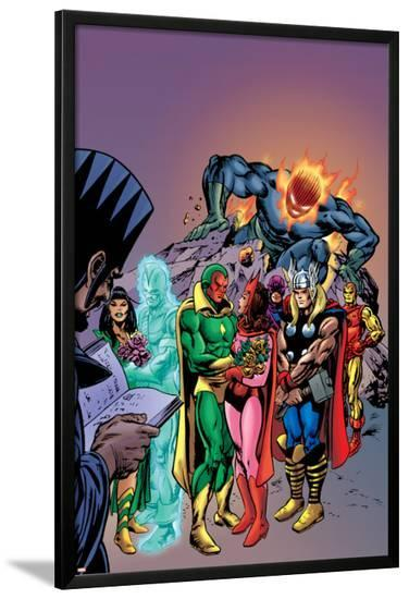Avengers: Vision And The Scarlet Cover: Vision, Scarlet Witch, Thor, Iron Man and Dormammu-Gil Kane-Lamina Framed Poster