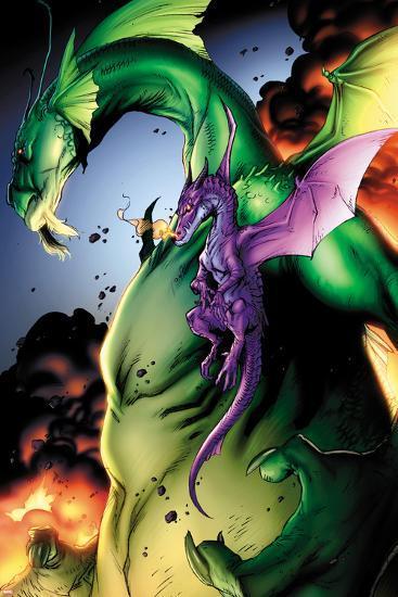 Avengers vs. Pet Avengers No.2: Fin Fang Foom and Lockheed Flying-Ig Guara-Art Print