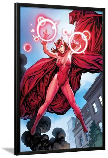 Avengers Vs. X-Men No.0: Scarlet Witch Flying with Energy-Frank Cho-Lamina Framed Poster
