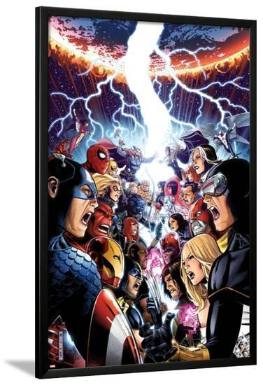 Avengers Vs. X-Men No.1 Cover: Captain America, Cyclops, Emma Frost, Gambit and Others Screaming-Jim Cheung-Lamina Framed Poster