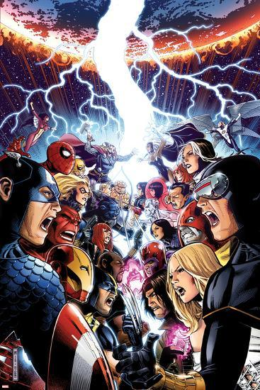 Avengers Vs. X-Men No.1 Cover: Captain America, Cyclops, Emma Frost, Gambit and Others Screaming-Jim Cheung-Art Print