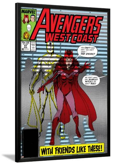 Avengers West Coast No.47 Cover: Scarlet Witch and Vision-John Byrne-Lamina Framed Poster