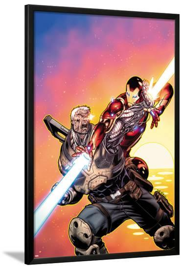 Avengers: X-Sanction No.2 Cover: Cable and Iron Man Fighting-Ed McGuinness-Lamina Framed Poster