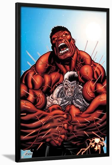 Avengers: X-Sanction No.3 Cover: Cable and Red Hulk Fighting-Ed McGuinness-Lamina Framed Poster