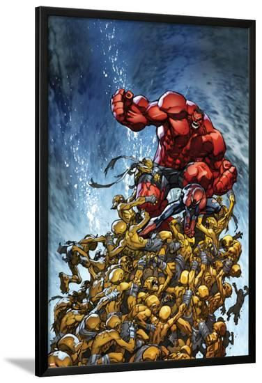 Avenging Spider-Man No.2 Cover: Spider-Man and Red Hulk Fighting Moloids-Joe Madureira-Lamina Framed Poster