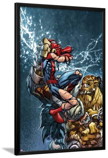 Avenging Spider-Man No.3 Cover: Spider-Man Fighting-Joe Madureira-Lamina Framed Poster