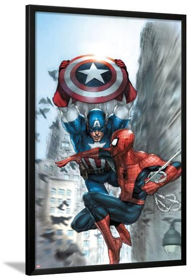 Avenging Spider-Man No.5 Cover: Spider-Man and Captain America-Leinil Francis Yu-Lamina Framed Poster