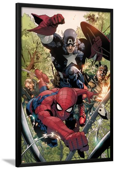 Avenging Spider-Man No.5: Spider-Man and Captain America-Leinil Francis Yu-Lamina Framed Poster
