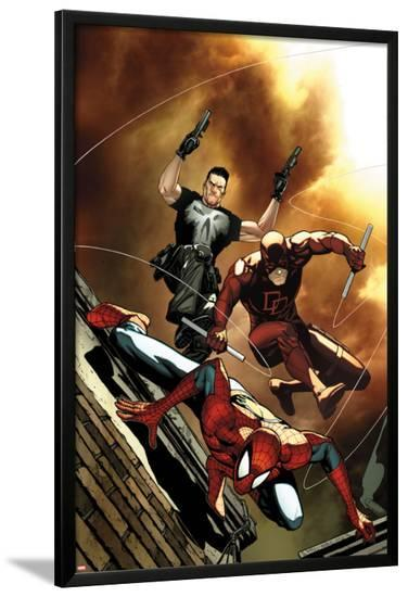 Avenging Spider-Man No.6 Cover: Spider-Man, Daredevil, and Punisher Jumping-Steve MCNiven-Lamina Framed Poster