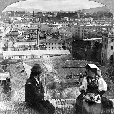 Aventine Hill and the Alban Hills, Rome, Italy-Underwood & Underwood-Photographic Print