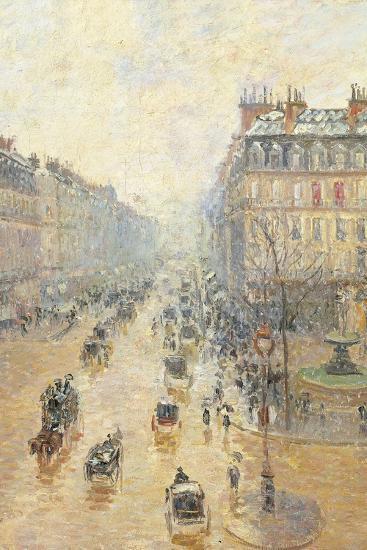 Avenue De LOpra. Snow Effect. Morning-Camille Pissarro-Giclee Print