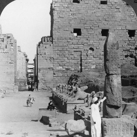 Avenue of Sacred Images after Excavation, Karnak, Thebes, Egypt, C1900-Underwood & Underwood-Photographic Print