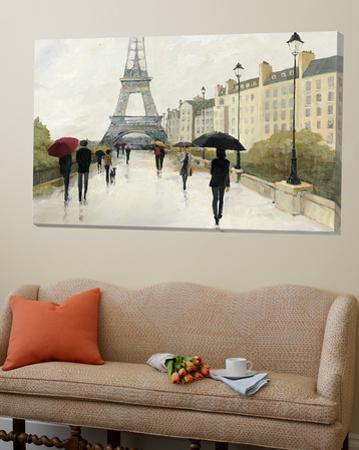 Eiffel in the Rain Marsala Umbrella