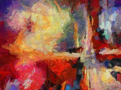 Abstract Art Background. Oil on Canvas. Warm Colors. Soft Brushstrokes of Paint. Modern Art. Contem