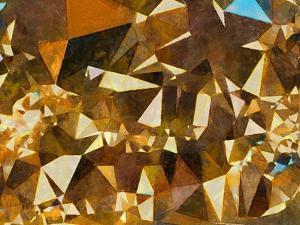 Abstract Geometric Gold Texture Impressionism Background. Painting on Canvas Watercolor Artwork. Ha by Avgust Avgustus