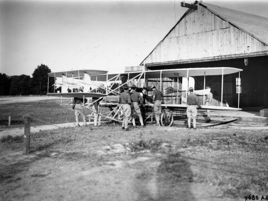 Aviation Pioneer Orville Wright Taking Off for 2nd Army Test in Wright Flyer--Premium Photographic Print