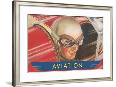 Aviatrix in Goggles--Framed Art Print