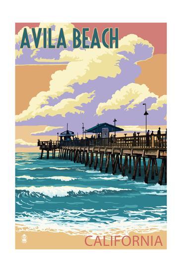 Avila Beach, California - Pier Sunset-Lantern Press-Art Print