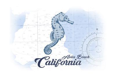 Avila Beach, California - Seahorse - Blue - Coastal Icon-Lantern Press-Art Print