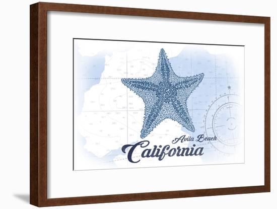 Avila Beach, California - Starfish - Blue - Coastal Icon-Lantern Press-Framed Art Print