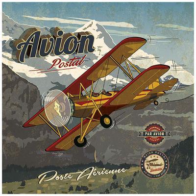 Avion postal-Bruno Pozzo-Art Print
