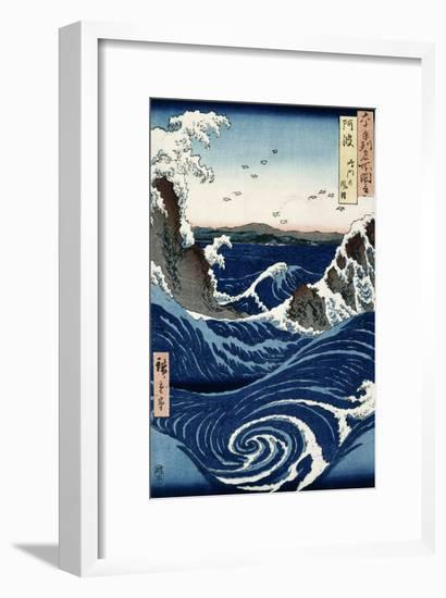 Awa Province: Stormy Sea at the Naruto Rapids from 'Famous Places of the Sixty Provinces', 1853-Ando Hiroshige-Framed Premium Giclee Print