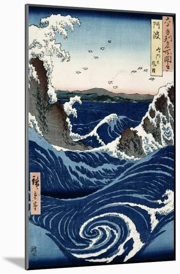 Awa Province: Stormy Sea at the Naruto Rapids from 'Famous Places of the Sixty Provinces', 1853-Ando Hiroshige-Mounted Giclee Print