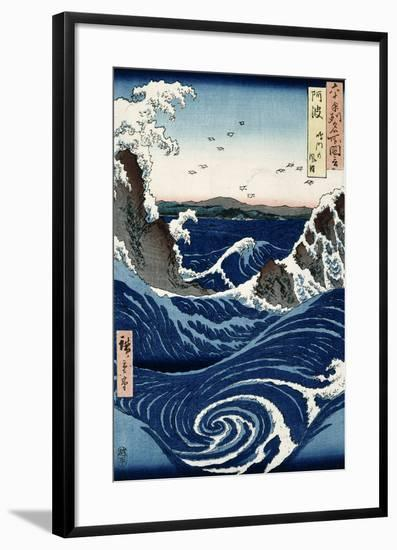 Awa Province: Stormy Sea at the Naruto Rapids from 'Famous Places of the Sixty Provinces', 1853-Ando Hiroshige-Framed Giclee Print