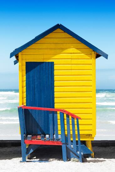 Awesome South Africa Collection - Colorful Beach Hut Cape Town - Yellow & Minight Blue-Philippe Hugonnard-Photographic Print