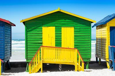 Awesome South Africa Collection - Colorful Beach Huts - Green & Yellow-Philippe Hugonnard-Photographic Print