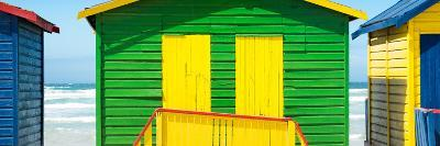 Awesome South Africa Collection Panoramic - Colorful Beach Huts - Green & Yellow-Philippe Hugonnard-Photographic Print