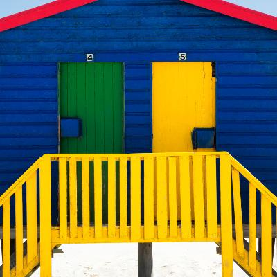 """Awesome South Africa Collection Square - Close-Up of Colorful Beach Hut """"Four & Five"""" Blue-Philippe Hugonnard-Photographic Print"""