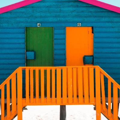"""Awesome South Africa Collection Square - Close-Up of Colorful Beach Hut """"Four & Five"""" Teal-Philippe Hugonnard-Photographic Print"""