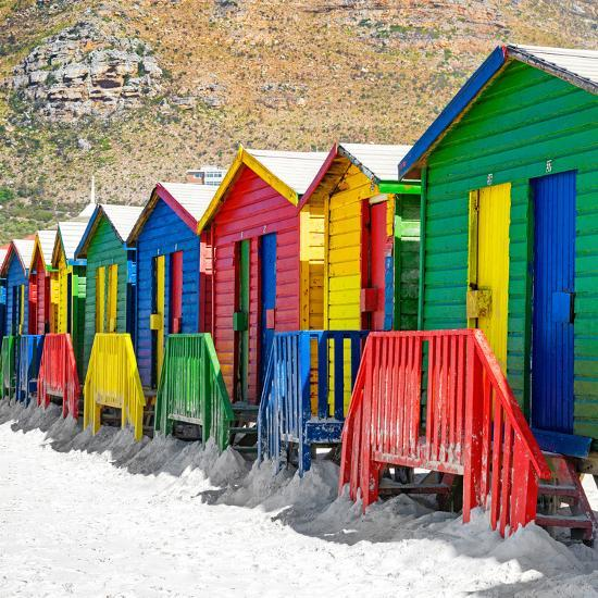 Awesome South Africa Collection Square - Colorful Beach Huts on Muizenberg - Cape Town II-Philippe Hugonnard-Photographic Print