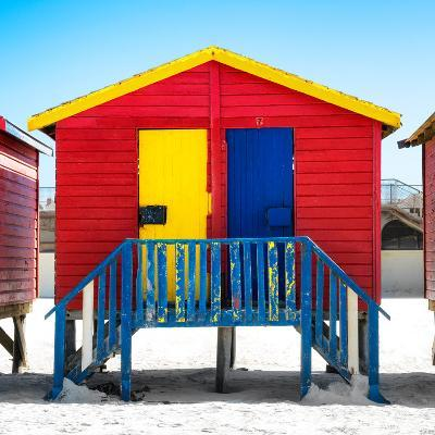 """Awesome South Africa Collection Square - Colorful Beach Huts """"Seven"""" Red-Philippe Hugonnard-Photographic Print"""