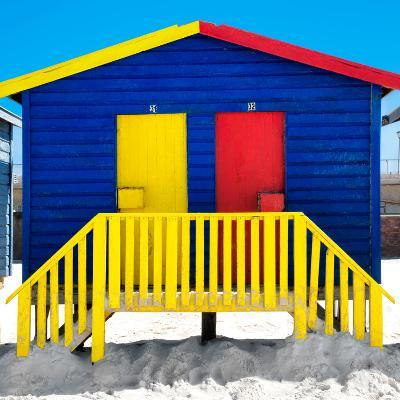 """Awesome South Africa Collection Square - Colorful Beach Huts """"Thirty One & Thirty Two"""" Blue-Philippe Hugonnard-Photographic Print"""