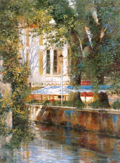 Awnings by the Canal-Michael Longo-Art Print