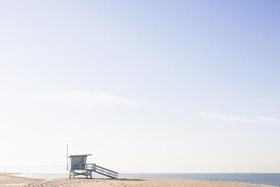 Playa Del Rey, Los Angeles, CA, USA: Bright Blue Lifeguard Tower On The Beach Against The Blue Sky