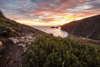 Santa Cruz, Channel Islands NP, CA, USA: View Along Coast And Over Scorpion Harbor During Sunrise